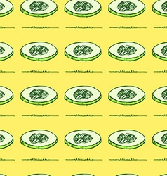 Sketch sliced cucumber in vintage style vector