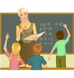 Teacher at blackboard explains children vector