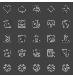Thin line poker icons vector image