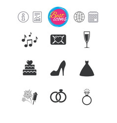 wedding engagement icons vow love letter vector image