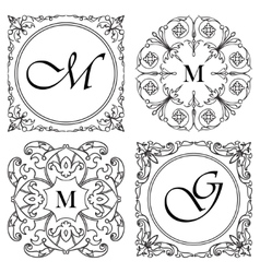 Set of medieval ornamental monograms framework vector