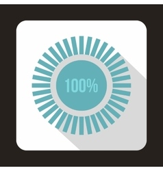 Loading circle100 percent icon flat style vector