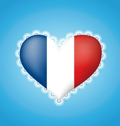 Heart shape flag of france vector