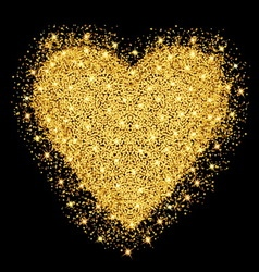 Happy Valentines day greeting card Gold heart with vector image