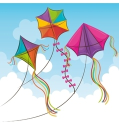 Kite flying in the sky vector