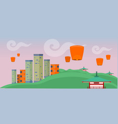 Asian landscape with modern and ancient buildings vector