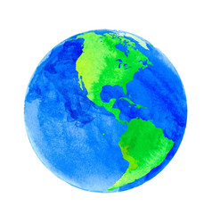 earth with watercolor vector image