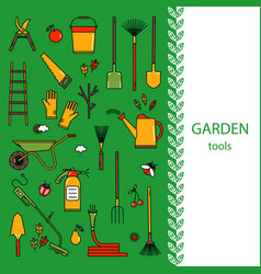 Cover template with garden tools vector