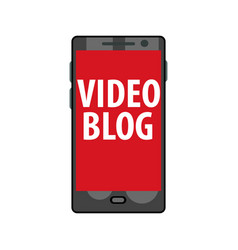 Online video blog on smartphone live stream vector