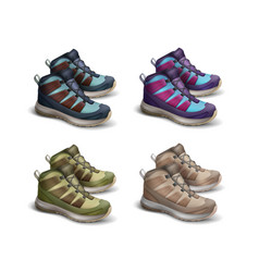Set of colored travel sneakers vector