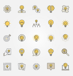 Idea colorful icons set vector