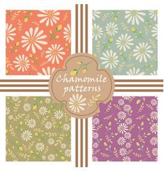Set of decorative pastel flowers patterns vector