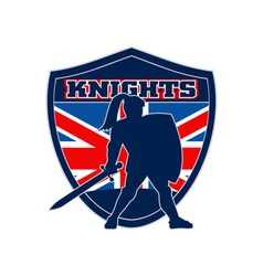 Knight with sword shield gb british flag vector