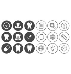 Tooth dental care icons stomatology signs vector