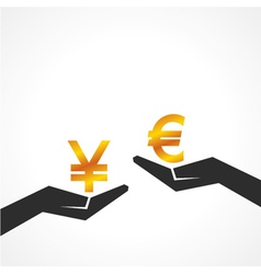 Hand hold yen and euro symbol to compare vector