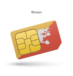 Bhutan mobile phone sim card with flag vector