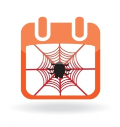 Calendar icon with spider vector