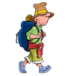 Cartoon funny man tourist with a backpack going vector