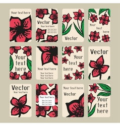 Business cards with doodling flowers in tattoo vector