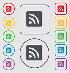 Rss feed icon sign symbol on the round and square vector