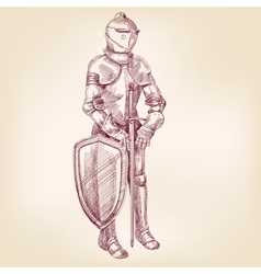 Knight vintage hand drawn llustration vector
