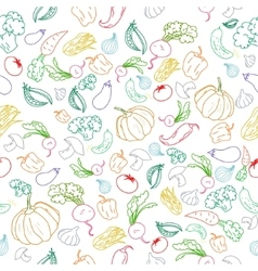 Seamless pattern color vegetables background vector