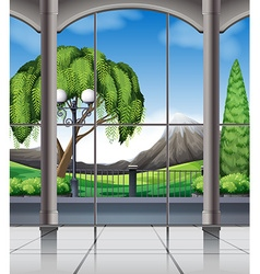 Room with window view of nature vector