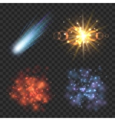 Space stars comet and explosion on transparence vector