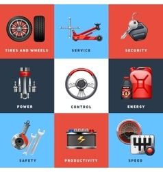 Car service concept flat icons set vector