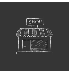 Shop store Drawn in chalk icon vector image