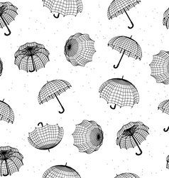 Seamless rainy pattern with umbrellas and raindrop vector