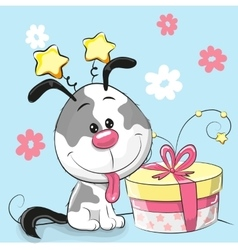 Greeting card cute puppy with gift vector
