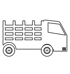 Truck vehicle in black and white colors icon vector