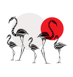 abstract silhouettes of pink flamingo vector image vector image