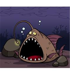 Angry fish vector image