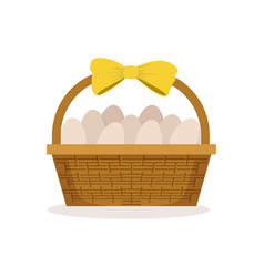Basket with yellow bow full of fresh farm eggs vector