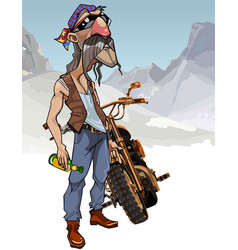 Cartoon male biker with a bottle vector