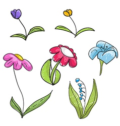 Childrens style hand-drawn flowers collection vector image