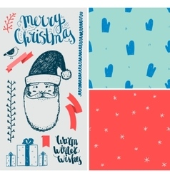 Christmas New Year set Hand drawn winter vector image