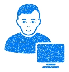 Computer administrator grainy texture icon vector