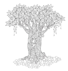 Cute fairy tale tree from magic forest vector
