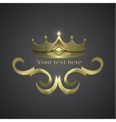 Decorative shiny banner crown logo vector