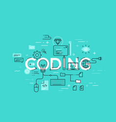 Flat style thin line banner design of coding vector