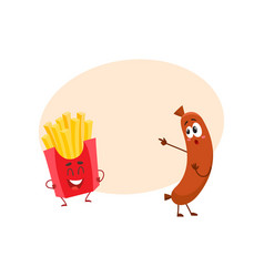 Funny smiling sausage and french fries characters vector