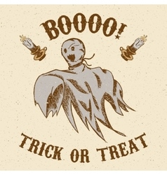 Halloween hand drawn ghost vector image vector image