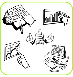 hand gestures and Business set vector image vector image