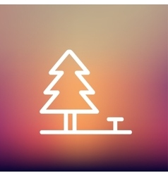 Pine tree thin line icon vector image