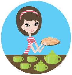 pretty girl with cookies vector image vector image