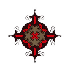 red and brown flourish circular ornament vector image vector image