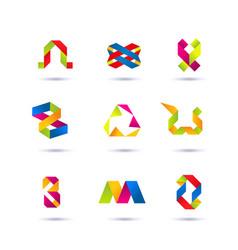 set of minimal geometric multicolor symbols and vector image